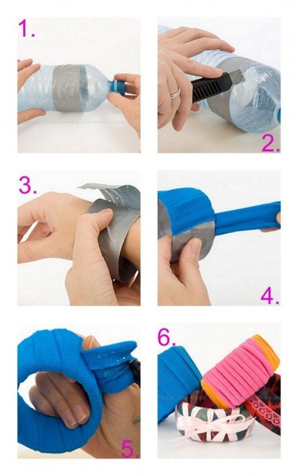 leuke armbanden om zelf te maken van plastci flessen en stof - DIY - sieraden - jewelry