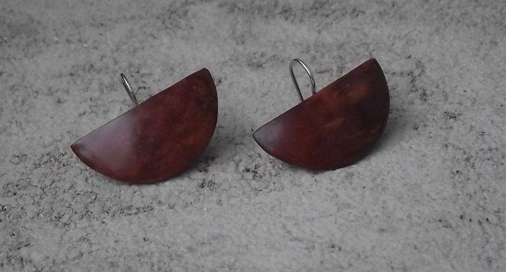 orecchini in legno pregiato (radica) e argento #moda donna