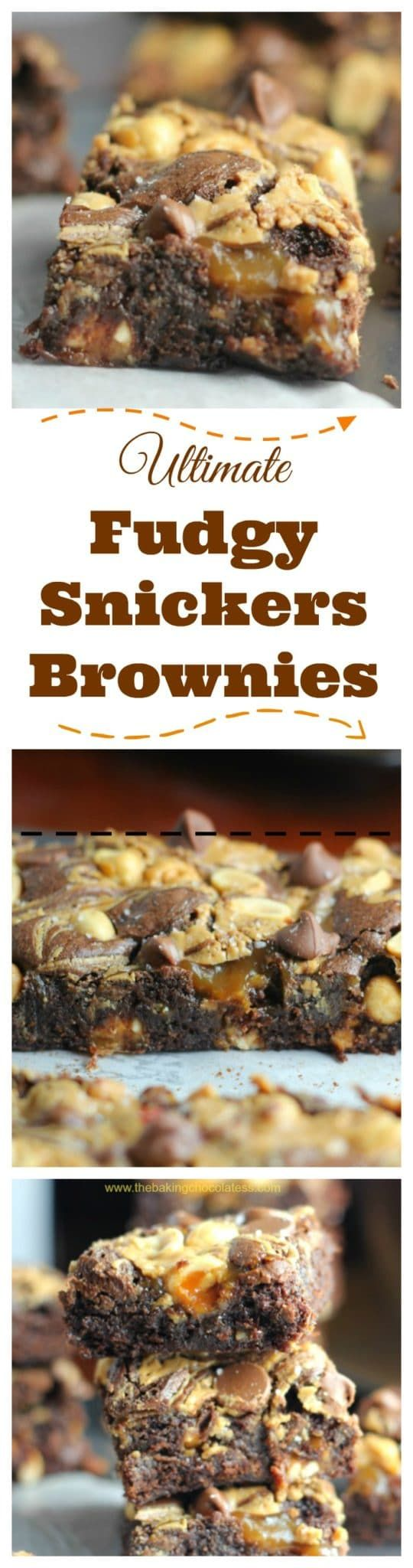 Ultimate Fudgy Snickers Brownies via @https://www.pinterest.com/BaknChocolaTess/