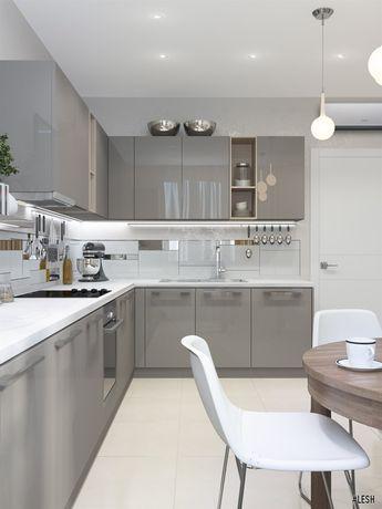 Современный кухонный гарнитур   Студия  LESH (дизайн кухни, современная кухня, серый цвет, оформление кухни, декор кухни)