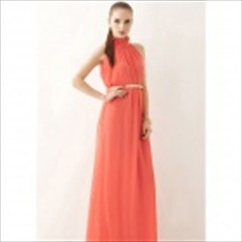 Fashion Chiffon Long Dress for Women - Watermelon Red (Free Size)