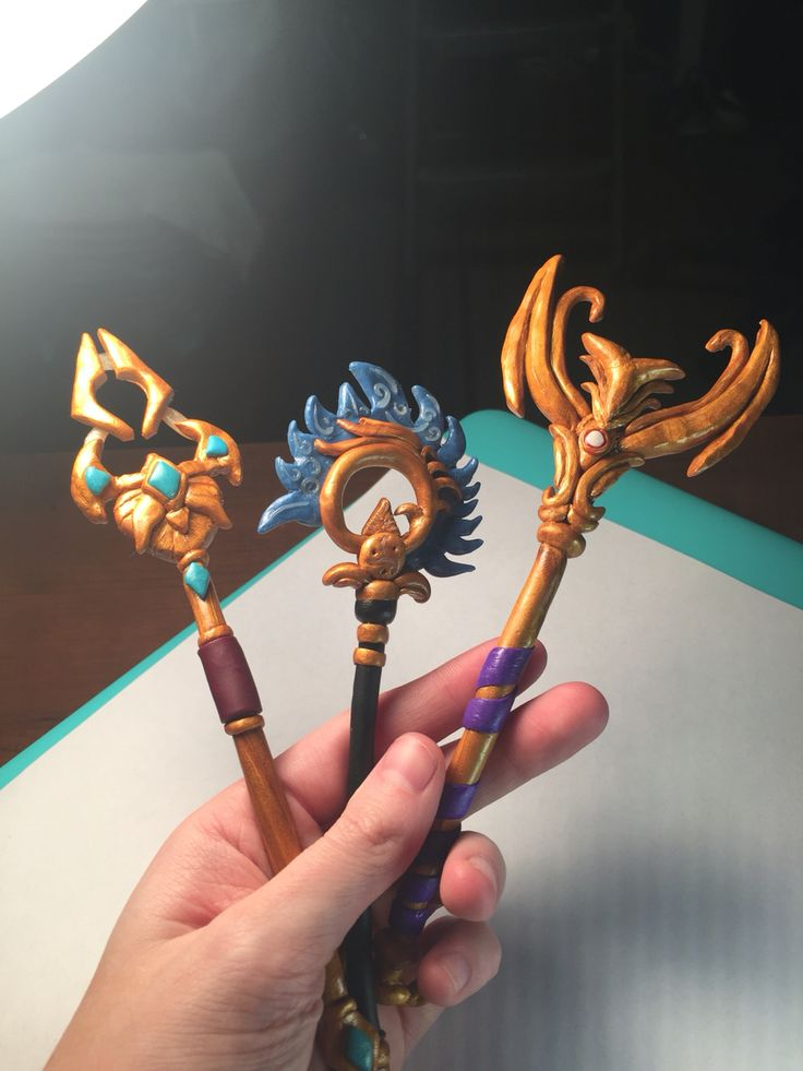 Nami, Azir and Dragon Trainer Lulu's staves. Made out of polymer clay. www.etsy.com/shop/valyriancraft
