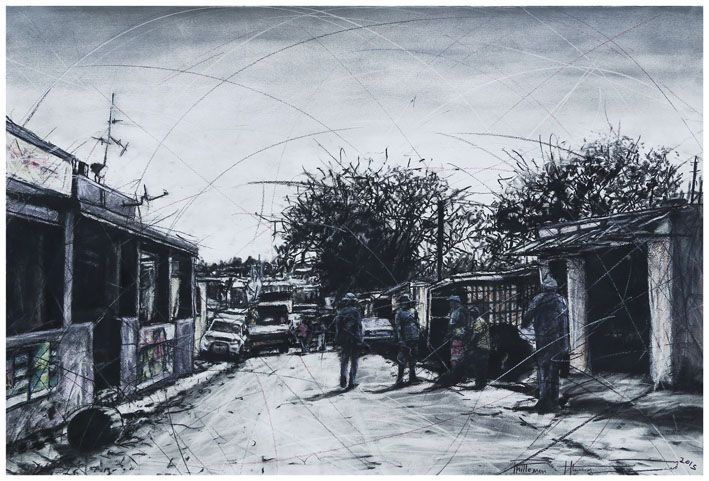 An original work by Phillemon Hlungwani entitled: John Brand Street and 7th Avenue (ALEX) III mixed media on paper 70 x 105cm. For more please visit www.finearts.co.za