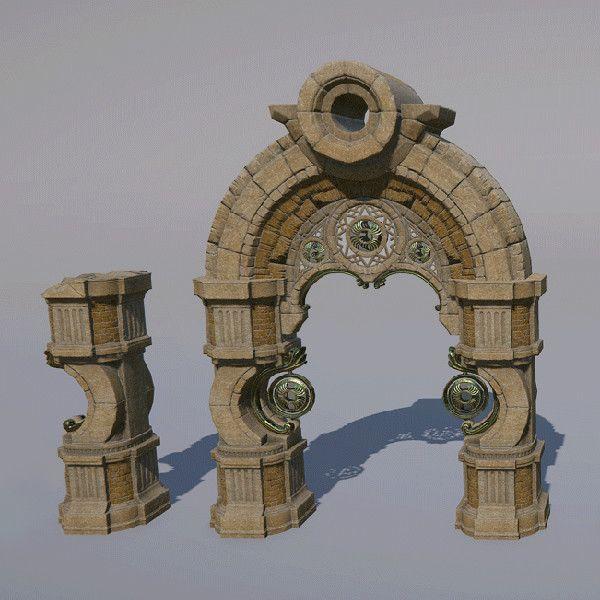 Skyforge environment - Ruins Modular Set Breakdown, Liubov Sokolina on ArtStation at https://www.artstation.com/artwork/81xGm