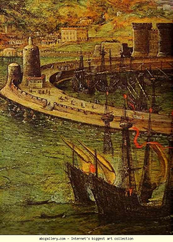 Pieter Bruegel the Elder. The Bay of Naples. Detail. 1556. Oil on wood. Galleria Doria Pamphili, Rome, Italy.