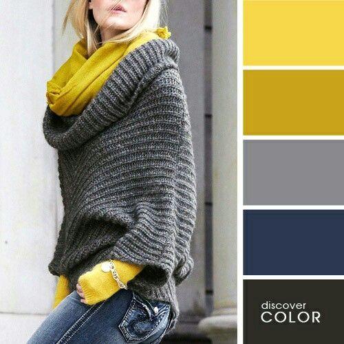 Gris, azul y amarillo