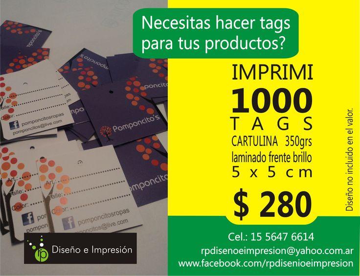 Tags colgantes (cartulina) 5 x 5 cm - Perforados - Impresión full color doble faz x 1.000 unidades.