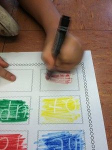 Hidden words! Write in white crayon then color over with marker. Speech words? Spelling words? Yes!
