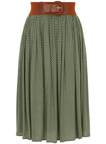 Green polka dot midi skirt a little different then what i normally pin but im trying to spread my wings
