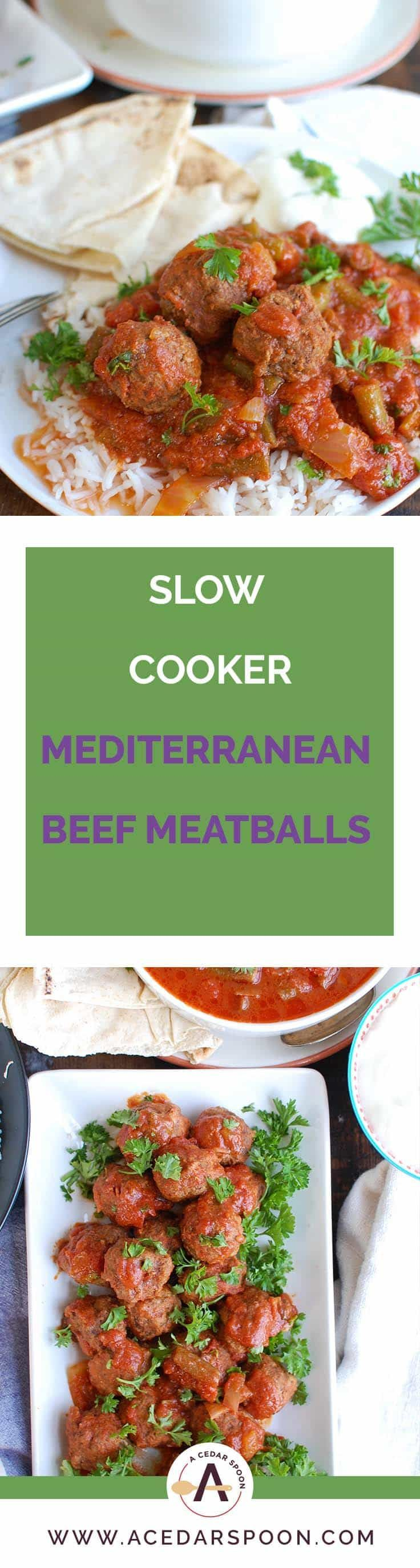 Slow Cooker Mediterranean Beef Meatballs with Lebanese Green Beans is full of warm spices and slow cooks in your crockpot to make dinner easy. Beef meatballs are spiced with Mediterranean flavors and slow cooker in Lebanese green beans creating the perfect sauce paired with the meatballs and rice. // A Cedar Spoon