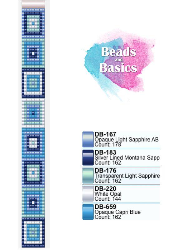 geometric square blue miyuki delica pattern for beadloom bracelets - patronen voor weefarmbandjes