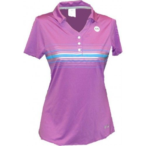 Under Armour Ladies Shazam Metallic Striped Insert Printed Golf Polo-Dahlia