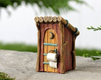 My Fairy Gardens Mini - Woodland Outhouse - Miniature Supplies Accessories Dollhouse