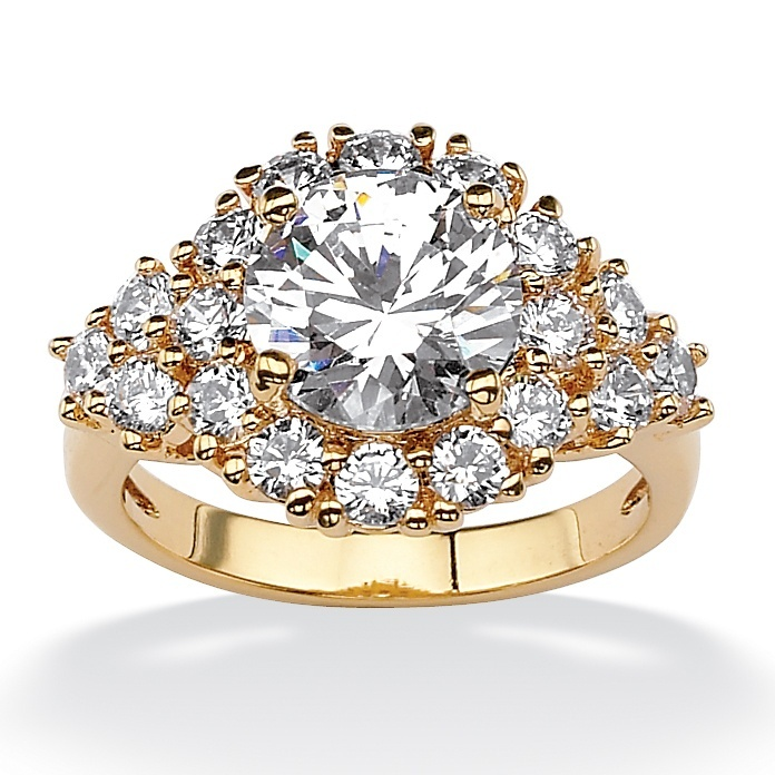 4 29 Tcw Round Cubic Zirconia 18k Yellow Gold Plated