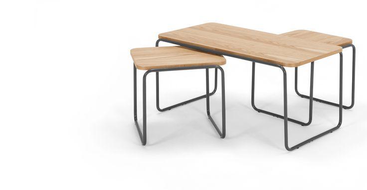 Hill, table basse et 2 x tables d'appoint, frêne et gris