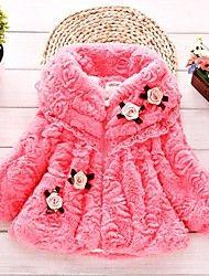 Girl's Flower Lace Fleece Lining Furry Coat – CAD $ 34.74