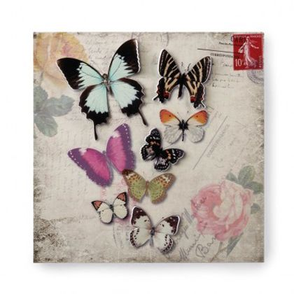 <p>Eight gloriously detailed butterflies want to live with you! This metal wall art features a floral and postcard background thats the perfect scene to show off their vividly colored cutout butterfly wings.</p>
