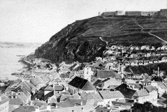 a Gellérthegy és a Duna közötti igen keskeny sáv az 1870-es évek elején Forrás:Fortepan, adományozó: GGAABBOO