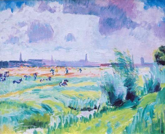 Jan Altink – Koeien in een zomers landschap met Groningen in het verschiet, omstreeks 1926  Waterverf op markiezendoek 50 x 60 cm
