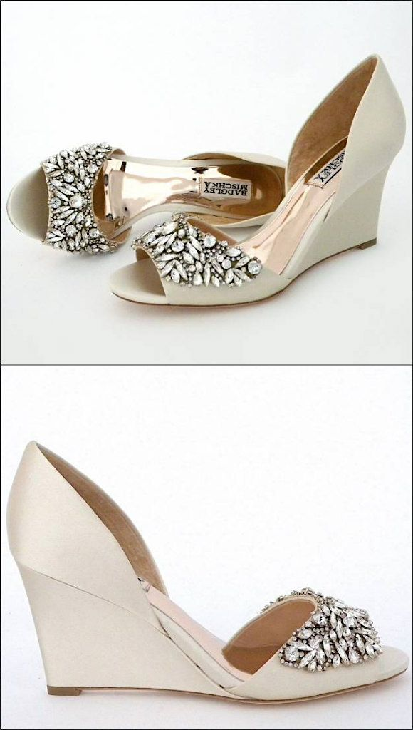 Wedge Wedding Shoes With Sparkling Toes Badgley Mischka Style Hardy Bridal Shoes Wedges Bridal Shoes Low Heel Wedding Shoes
