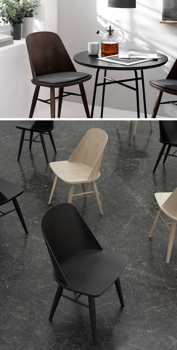 Furniture Ideas - 14 Modern Wood Chairs For Your Dining Room // The curved backrest of this wooden chair adds an extra bit of sturdiness while the smooth and slightly curved seat creates a comfortable place to sit.