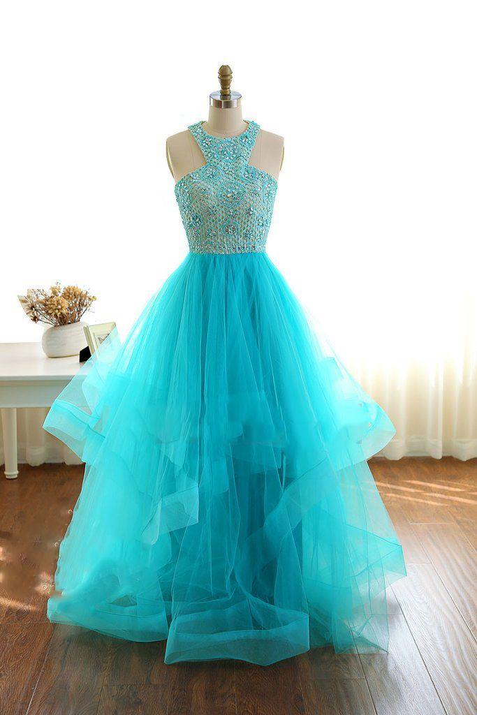 Beaded prom dress, halter prom dress, cute green tulle long prom dress for teens