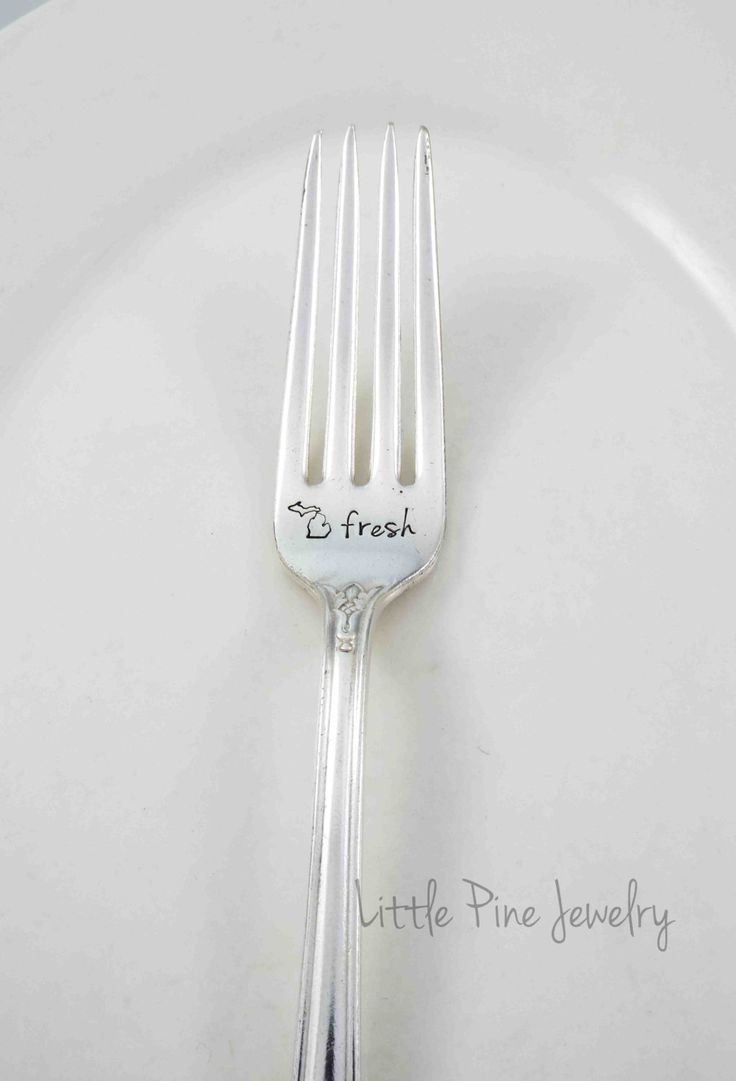 Michigan Fork, Michigan Made, Great Lakes, Michigan Food, Michigan Fresh, Eat Local, Michigan Grown, Stamped Fork, State of Michigan, Fork by LittlePineJewelry on Etsy