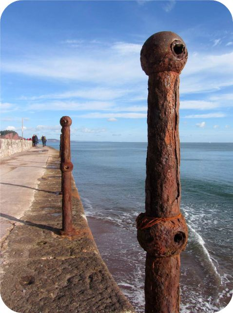 'Rusty pole' Teignmouth seafront, Devon, England