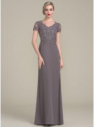 A-Linie/Princess-Linie V-Ausschnitt Bodenlang Chiffon Lace Kleid für die Brautmutter mit Perlstickerei Pailletten