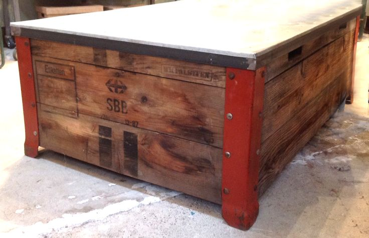 Vintage Crate Wood Steel Coffee Table Jennifer Price Studio Solo
