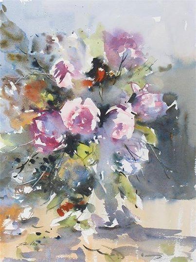 John Hoar (b.1947, UK) Summer Roses. watercolour. 51 x 37.5 cm. (20 x 14¾ in.)