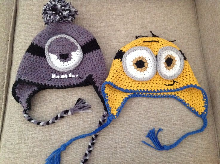Crochet minion hats
