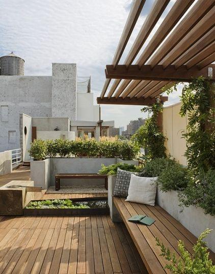 Contemporary half style pergola and wooden benchRooftops Gardens, Ideas, Decks, East Village, Patios, Outdoor Spaces, Terraces, Roof Gardens, Design