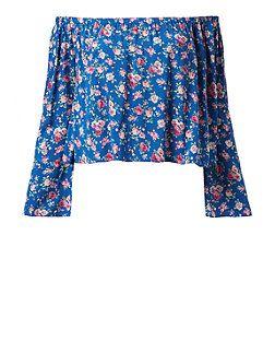 Blue Floral Print Wide Sleeve Bardot Bardot Neck Top  | New Look
