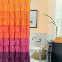Amazon.com: Dainty Home Flamenco Tiered Fabric Shower Curtain, 72 by 72-Inch, Orange/Mahagony: Home  Kitchen