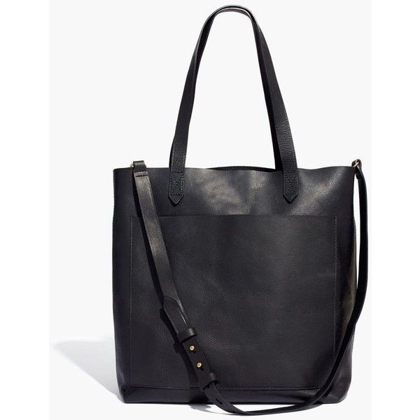MADEWELL The Medium Transport Tote ($158) ❤ liked on Polyvore featuring bags, handbags, tote bags, true black, leather handbag tote, top handle leather handbags, genuine leather handbags, leather purses and leather tote handbags