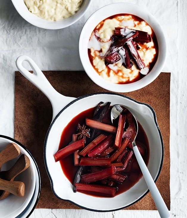 Australian Gourmet Traveller recipe for coconut rice pudding with star anise and rhubarb.