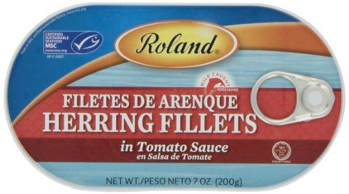 Traditional Roland Herring Fillets in Tomato Sauce, 7-Ounce Cans (Pack of 6), ,