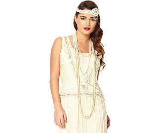 US6 UK10 AUS10 EU38 Cream Vintage inspired 20s Flapper Great Gatsby Charleston Downton Abbey Art Deco Rehearsal Dinner Bridesmaid Dress