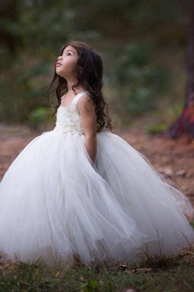Isn't this the cutest little flower girl dress you've ever seen? | White Ivory Shabby Chic Flower Girl Dress | Tulle Flower Girl Dress | Flower Girl Ideas | Wedding Ceremony | #flowergirl #flowergirldress