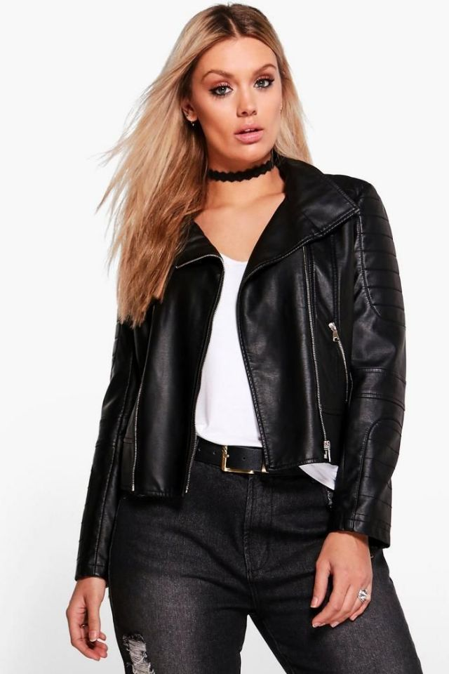 1bd2dc67c87 12 Stores Every Cool Plus-Size Girl Needs to Bookmark Now | ROPA NEGRA Y  AZUL OSCURO | Leather Jacket, Faux leather jackets y Faux shearling coat