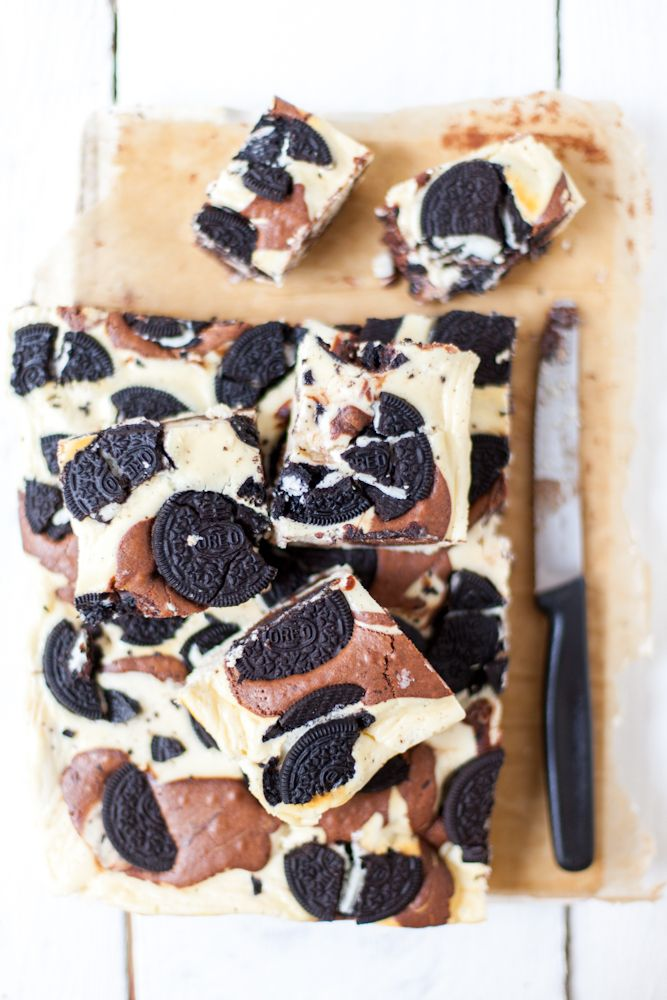 White Chocolate Brownies with Oreos