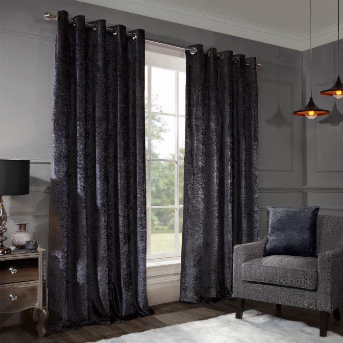 Allure Charcoal Crushed Velvet Eyelet Curtains Black Blackout