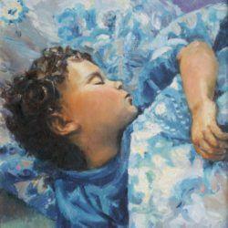"""Dreaming in blue"" oil on canvas by Monika Malinowska"