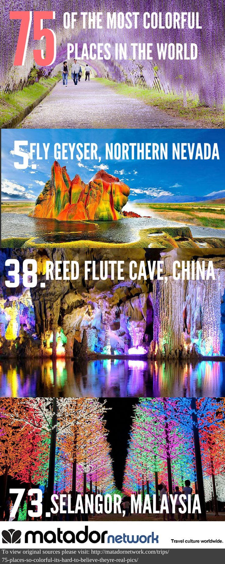 Check out 75 of the most colorful places in the world that include Fly Geyser, Northern Nevada, Reed Flute Cave in China and Selangor, Malaysia. Discover your next travel destination with MatadorNetwork.com