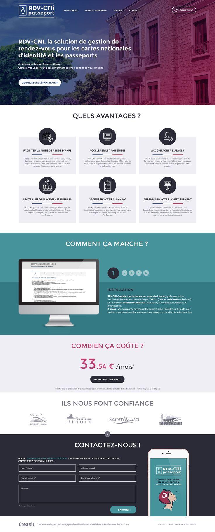 Création du site Internet de RDV-CNI, outil de prise de rendez-vous (carte nationale d'identité et passeport) en mairie: #Web #Webdesign #Responsive : www.rdv-cni.fr by @creasit