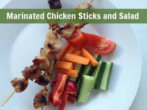 Marinated Chicken Sticks and Salad - Simple recipe to make honey and soy marinated chicken sticks that the kids will love.