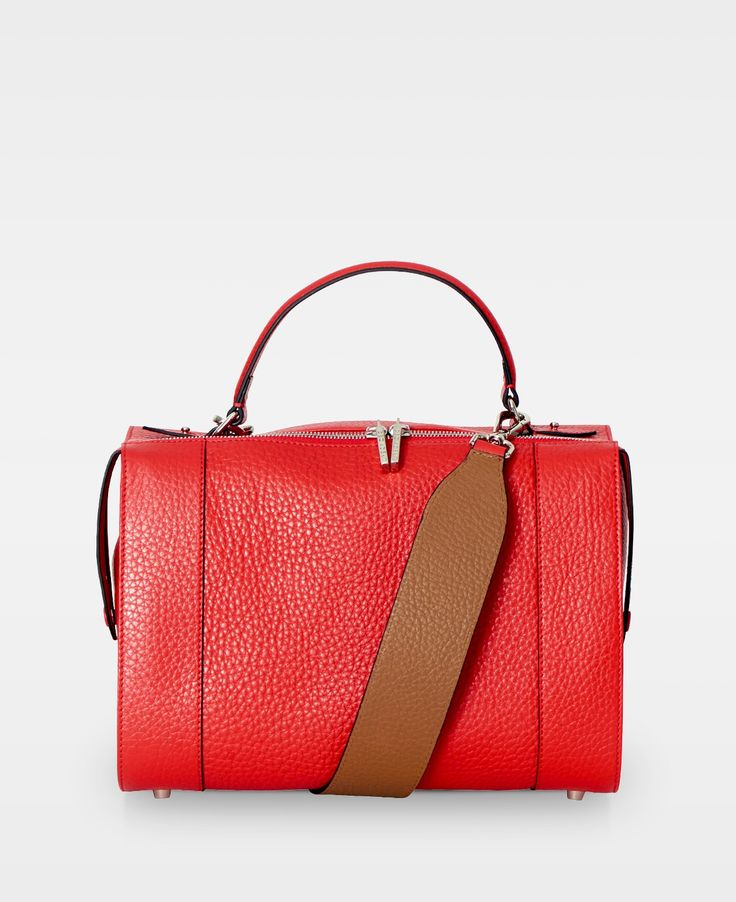 One handle handbag - Red/Cognac