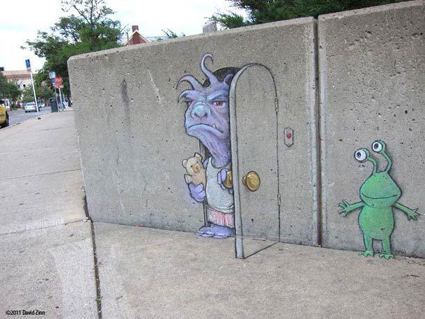 the chalk street art by illustrator David Zinn depicts Sluggo