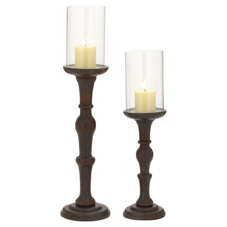 DecMode Walnut Brown Candle Holder - Set of 2 - 51585